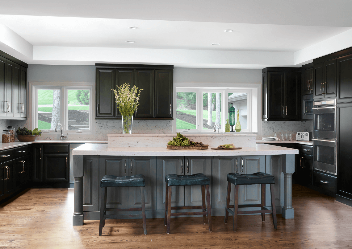 Traditional Kitchen with Black Cabinetry