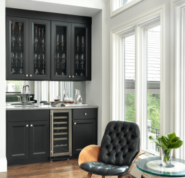 Traditional Wet Bar with Black Cabinetry