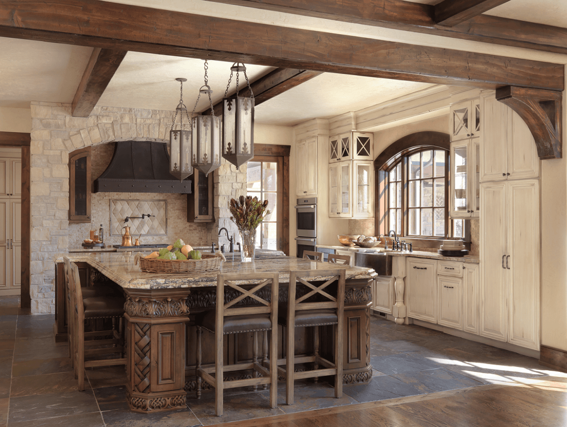 Old World-Inspired Kitchen with Distressed Cabinets