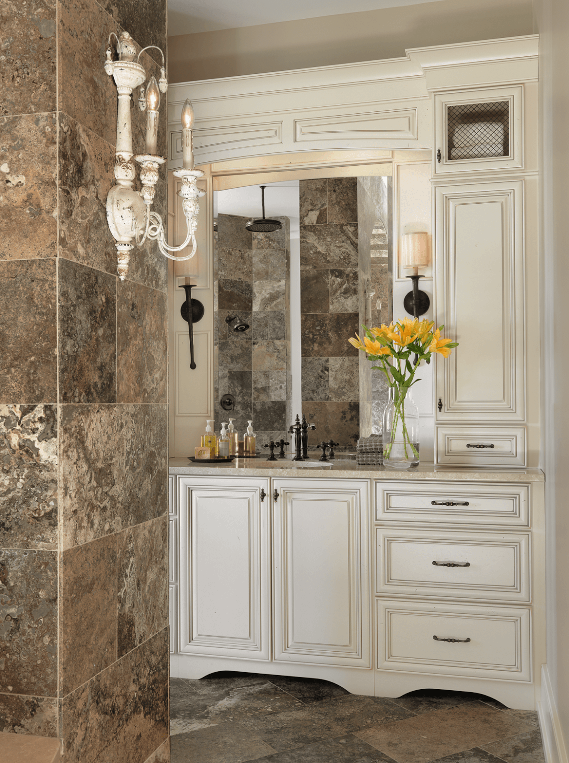 Bathroom cabinetry custom vanity beck allen cabinetry for Elegant master bathroom ideas