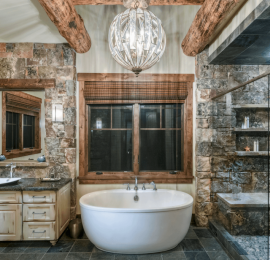 Nature-Inspired Master Bathroom with Freestanding Bathtub