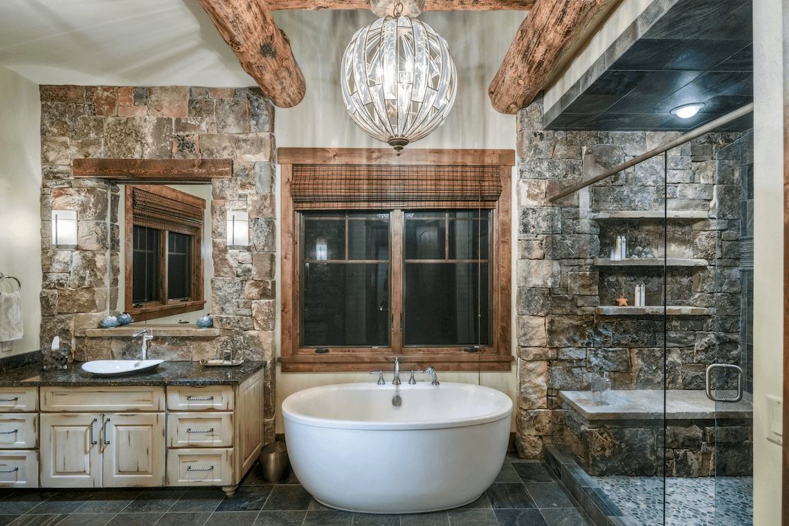 nature-inspired master bathroom with freestanding bathtub - beck