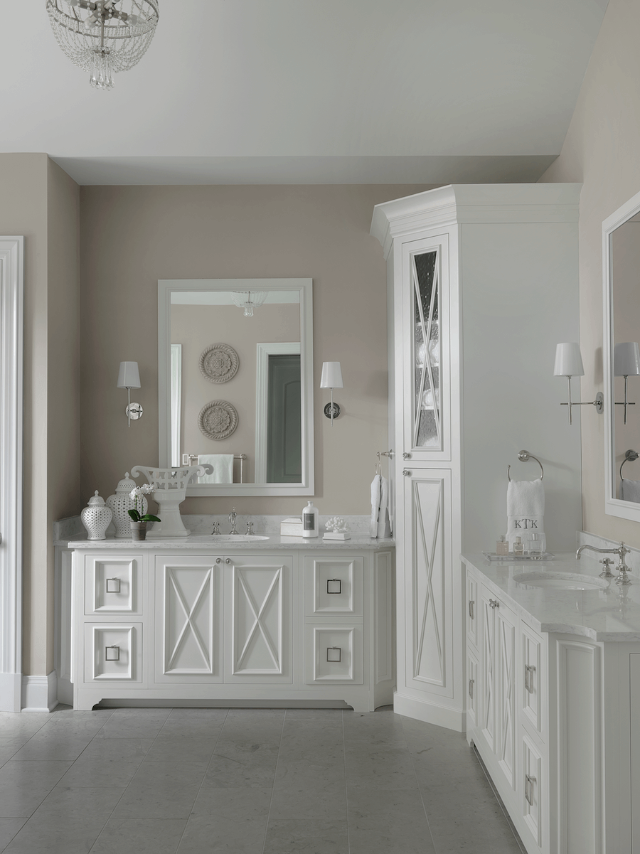 White Master Bathroom | Custom Cabinetry | Beck/Allen Cabinetry