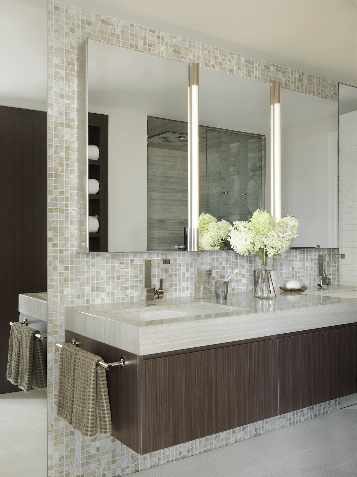 Floating Vanity in a Modern Master Bath BeckAllen Cabinetry
