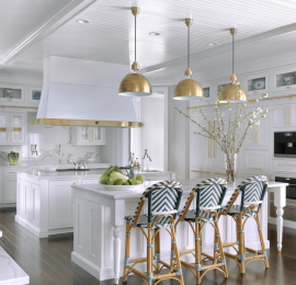 White Kitchen with Polished Brass Accents