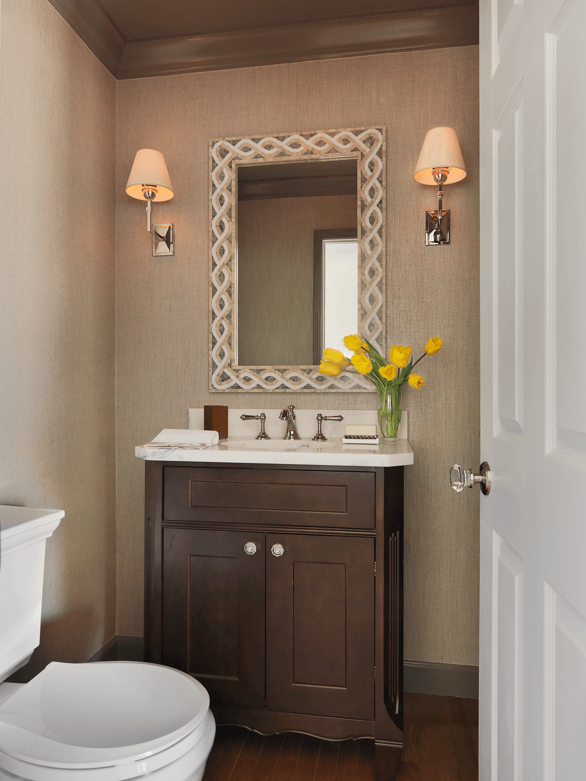 Transitional Powder Room Vanity Beck Allen Cabinetry