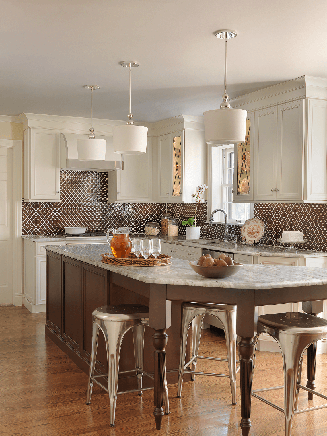 White Kitchen Cabinets with Moroccan Tile Backsplash by Beck