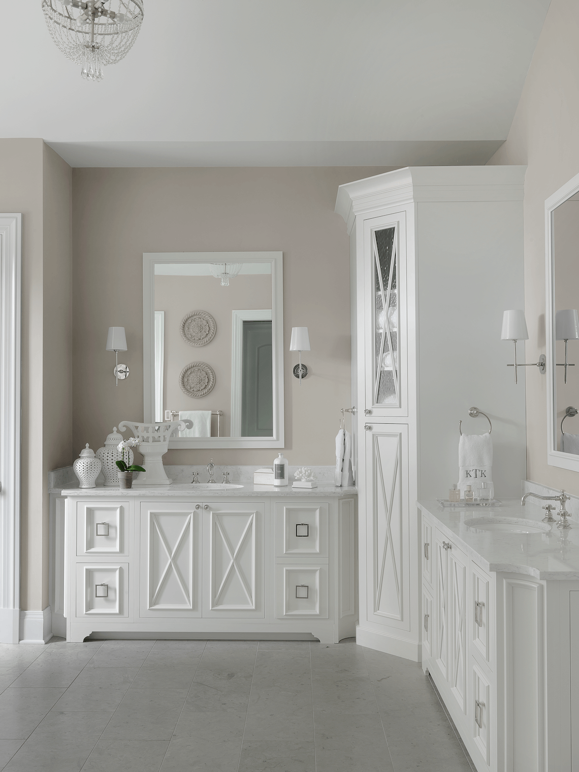 Transitional White Master Bathroom Beck Allen Cabinetry