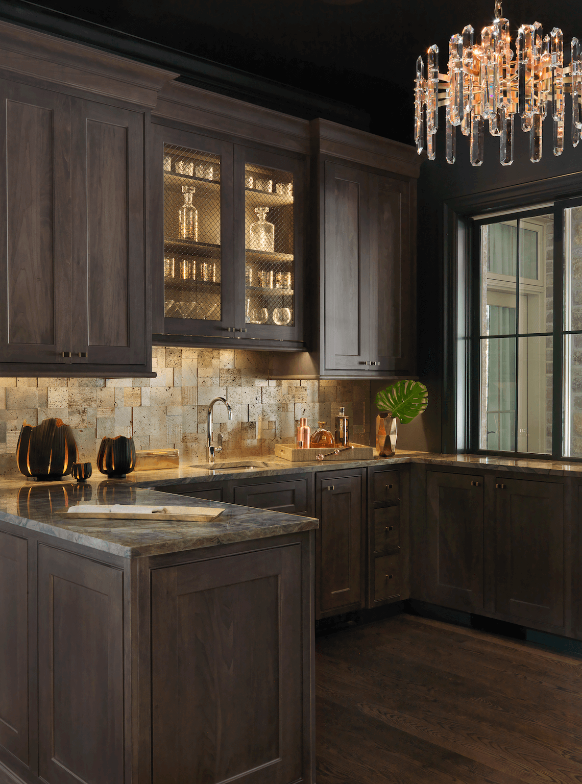 Wet Bar With Warm Gold Copper And Leather Accents Beck