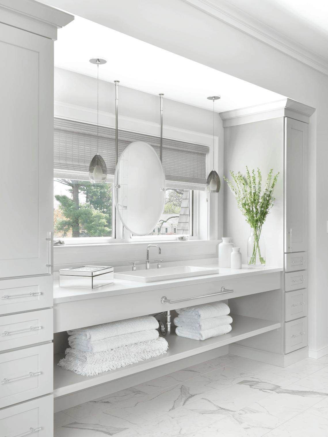 Light Grey Cabinets Bathroom Design