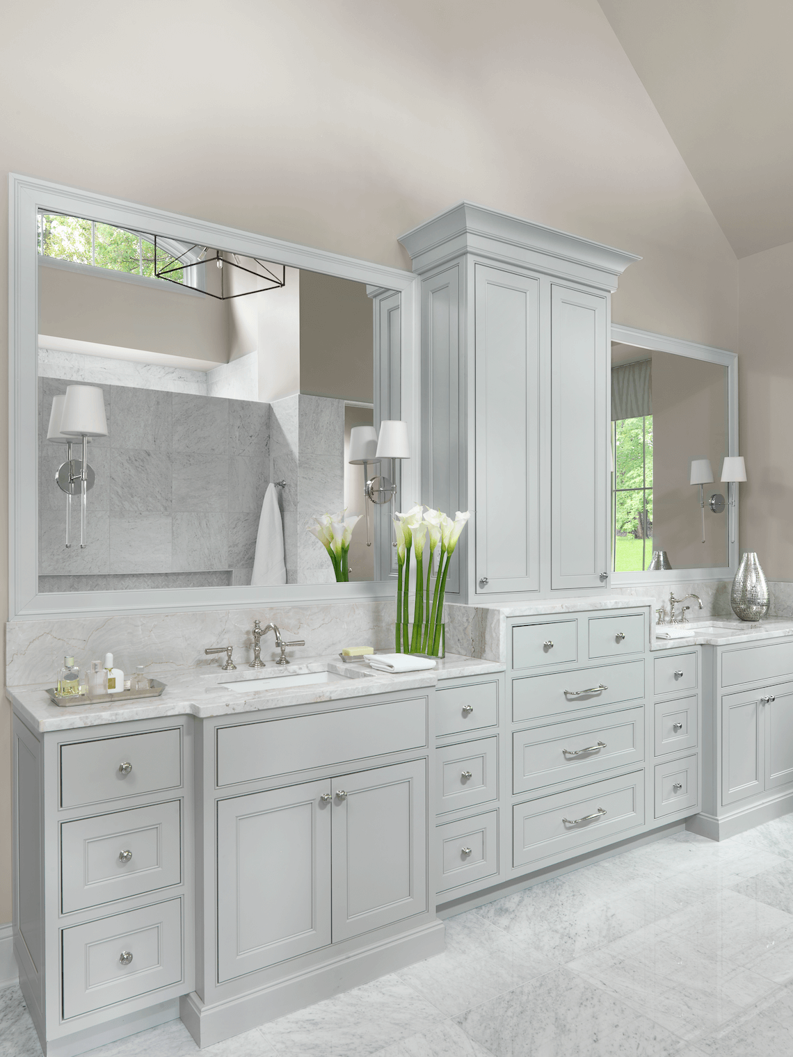 White And Gray Master Bathroom Beck Allen Cabinetry
