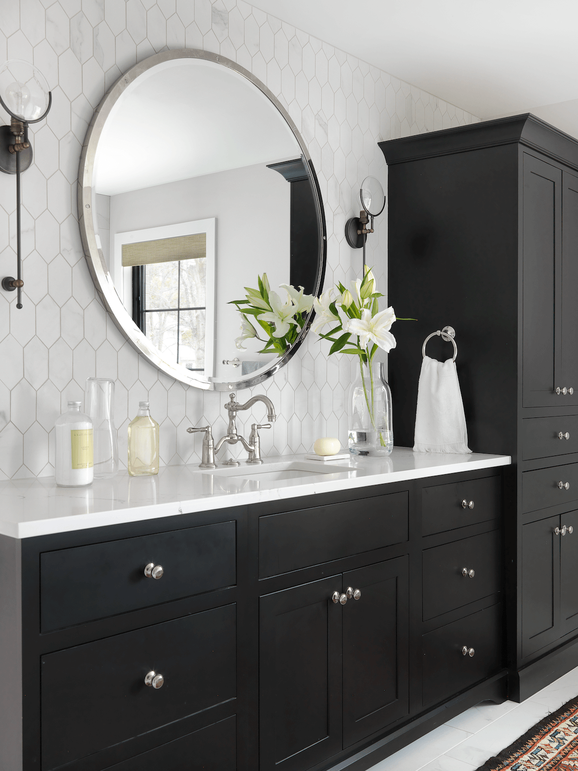 Black And White Master Bath Beck Allen Cabinetry