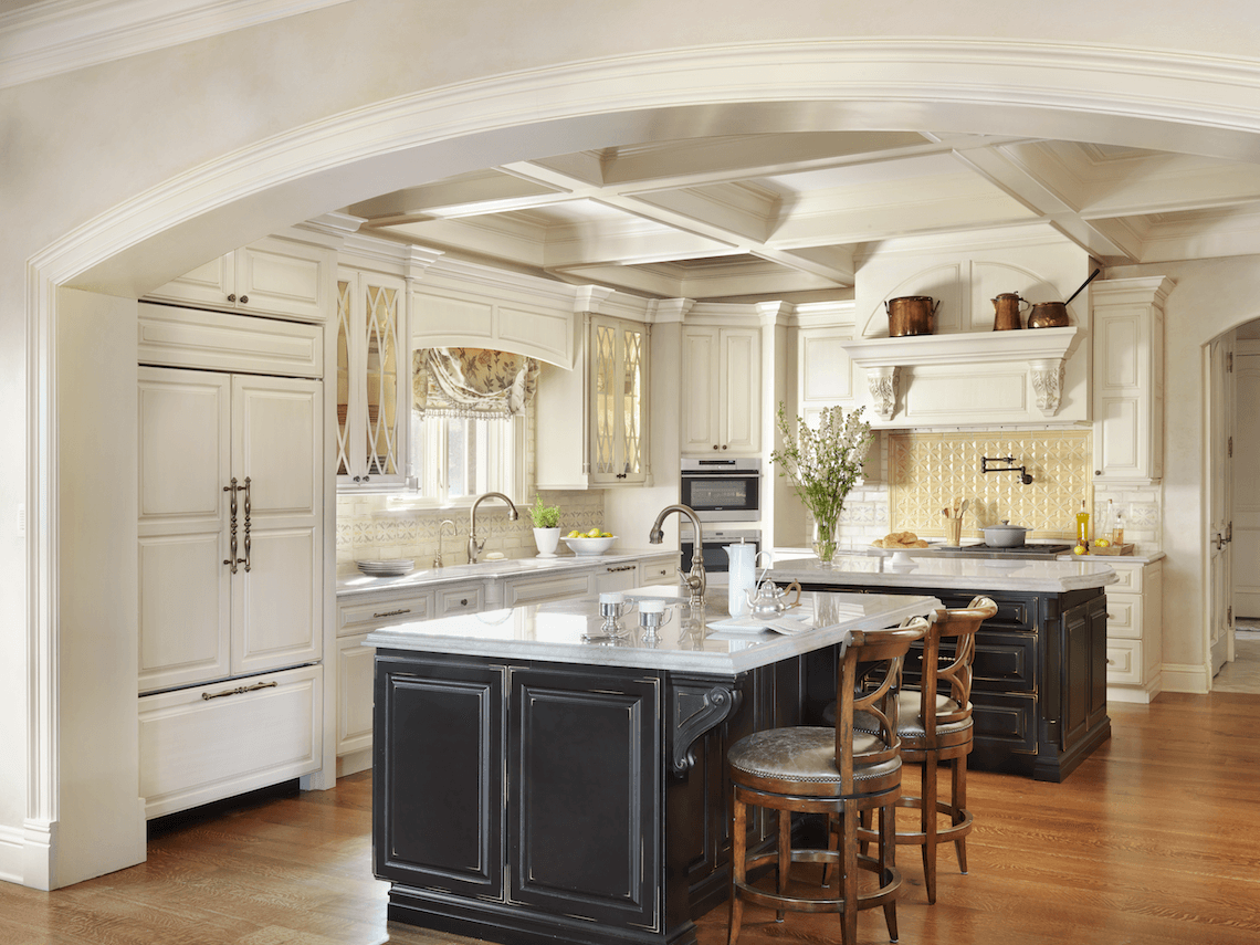 traditional kitchen with two islands beck allen cabinetry